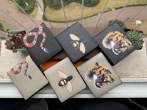 Alta calidad hombres animales Monedero corto de piel de serpiente tigre negro de abeja carteras mujer monedero largo del estilo Los titulares de tarjeta de bolsillo con caja de regalo Tarjetas
