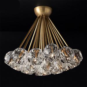 Luxo americano RH Deco Led Chandelier Lustre Iluminação Interior chandelier cristal Lampshades G4 Candelabro Iluminação