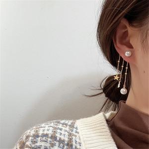Korean Star Tassel Earrings Ear Clip Simulated Pearl Irregular Ear Studs S925 Silver Needle Earring for Women Girls Gift