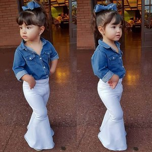 Telotuny Toddler Girls Clothes Coton À Manches Longues Floral Denim Tops Shirt + Pantalons Lâches Tenues De Noël Ensembles Maintenant