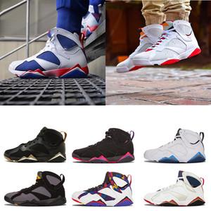 2020 7 7s мужская баскетбольная обувь женщины фиолетовый UNC Бордо Олимпийский Пантон чистые деньги ничего Раптор N7 Zapatos тренер спортивные кроссовки обувь