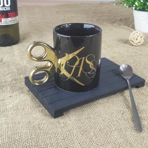 Handle 1Pcs Scissors personalizado Caneca criativa Gold Cup Cerâmica Escritório Chávena de água em casa Caneca do clássico do copo de café