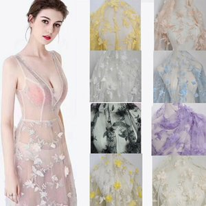 3D Chiffon Flowers Mesh Lace Fabric Handmade Wedding Dress 100*130 CM