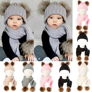 Toddler Kids Girl Boy Baby Infant Winter Crochet Knit Hat Cycling Beanie Cap Scarf Set