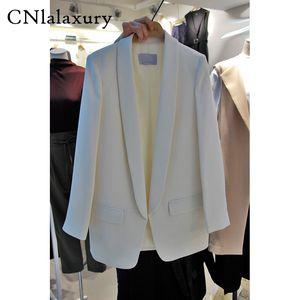 CNlalaxury Hochwertige Mode Blazer Frauen Oberbekleidung Herbst Jackett Blazer Weiß Damen Büro Mädchen Mantel weiblich