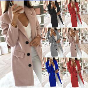 18 Renk S-5XL Kadın Palto Casual Yün Trençkot Bayan Kış Uzun Ceket Plus Size 56347405112902