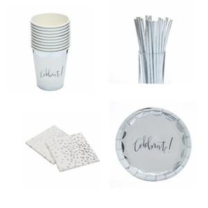 65pcs / set de plata Celebre placa de metal Vajilla Desechable Conjunto de vasos de papel servilleta fiesta de cumpleaños boda pajas decoración de la fuente