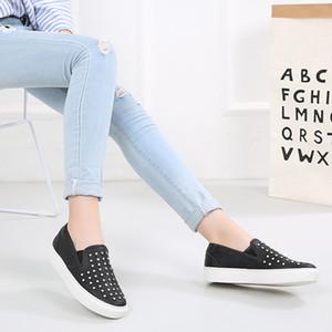 Crystal2019 Cuero Genuino Will Code Shoes Mujer Negro Tiempo libre Rivet Dawdler Shoe Zapatos planos Tienda en línea