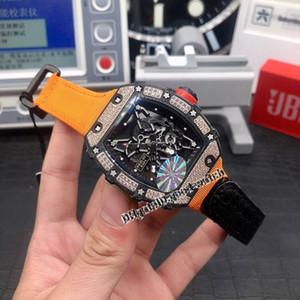 Versione top RM 35-02 scheletro Dial Diamonds Fibre di Carbonio Caso Giappone V2 RM35-02 zaffiro Mens Watch Nylon Strap Automatic orologi di marca