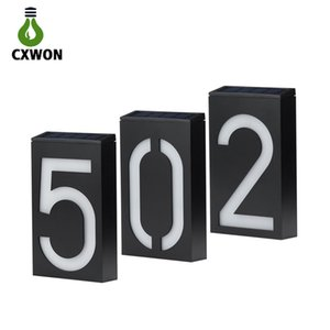 LED Solar House Number 6LEDs Waterproof doorplate Solar Wall Light Montado Digital Hotel LED Porta House Endereço Número Plaque
