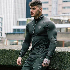 2019 Fashion Sportswear Long Sleeve Fitness Men's Casual Jogger Gyms Workout T-Shirt T200704