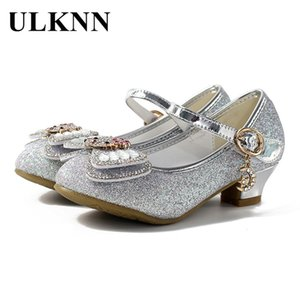 Zapatos de princesa para niños ULKNN para niñas elegantes nudo de mariposa zapatos de fiesta de tacón alto para niños vestido de goma sandalias de boda de PU baile