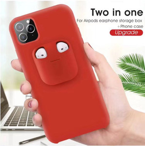 2in1 Airpods Cover Liquid Silicone Case For iPhone 11 Pro XS Max Soft headset Case For airpod