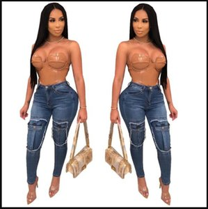 Holes Sexy Women Slim Jeans Designer Skinny Decorative Pocket Ladies Pencil Pants Streetwear Fashion Womens Clothing