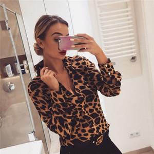 Blouses For Women Designer Tops Fashion Womens Leopard Print Long Sleeve Tops Blouses Ol Shirts V Neck Party Femininas Chemise Femme