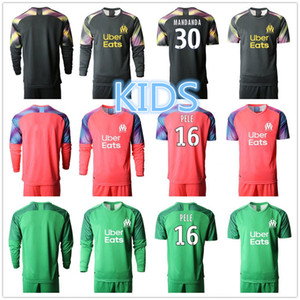 Kids Marsella Portero GK Manga larga 16 Yohann Pele Jersey Set Soccer 1 Romain Cagnon 40 Escales 30 Kits de camisa de fútbol de Steve Mandanda