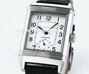 Best Rectangle 316L Steel Classic Large Reverso Mens Watch Duoface Dial Swiss Automatic Sapphire Crystal Calfskin Strap Business Wristwatch