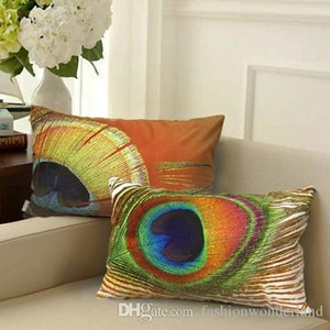 Peacock Feather Cushion Covers 4 Styles 3D Stereo Colorful Decorative Pillows Covers 30X50cm Pillows Cases Sofa Decor