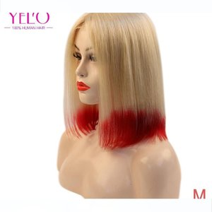 YELO Hair Products 613# Red Short 10 12 14 inch Bob Wigs 150% Density Brazilian Remy Straight Middle Part Human Hair Wig