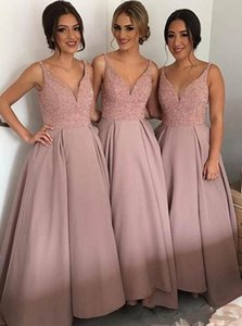 Blush Country Bridesmaid Dresses Best V Neck Top Beaded Satin Bohemian Evening Dresses Hi Low Backless Prom Gowns
