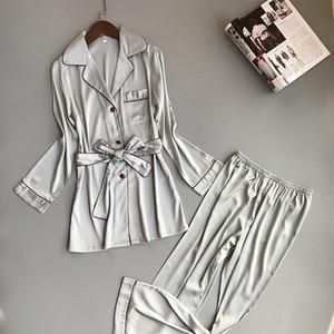 Pantolon Saten Gecelikler Sashes Sleepwear ile ZOOLIM Sonbahar İpek Kış Pijama Kadınlar Seksi Kadın Pijama