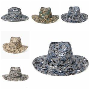 Occidental Knight Sombreros Camo los sombreros de ala de los hombres retro del visera de Sun Caps Vaquera del borde de los sombreros de Mongolia de la pradera de verano al aire libre Turismo Headwear D6931