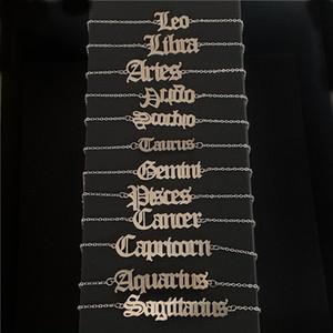 Женщины ножные цепи 12 созвездий Письмо Подвеска Leg Браслеты День подарков из нержавеющей стали для ног цепи Амулет Знак зодиака Foot Jewelry