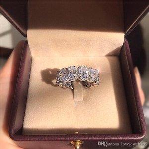Потрясающие Limited Edition Вечность Группа Promise Ring 925 стерлингового серебра 11pcs овальный алмаз CZ обручальных колец для женщин