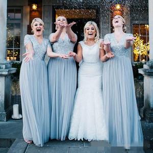 2020 Vestidos de dama de honor azul polvorientos Vestidos cortos con cuello en V de plata lentejuelas de lentejuelas de longitud de tobillo Dama de bodas de boda de bata de honor Hecho a medida con el tamaño de la medida