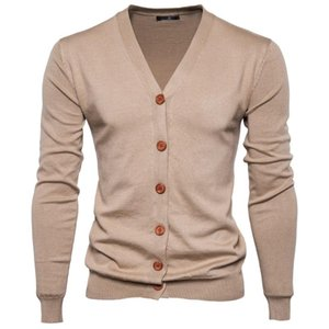 Automne Hiver Hommes Pull col V à manches longues kaki Pull oversize Cardigan Casual Knitwear multicolore tricoté mince Homme Top