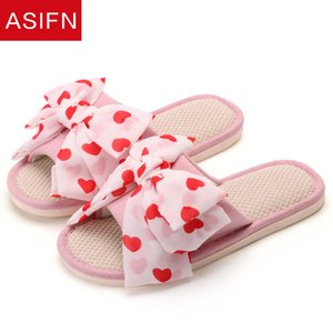 ASIFN Women Bathroom Flax Slippers Cute Bow Slides Non Slip Indoor Mules Summer Flip Flops Chaussures Zapatos De Mujer Bedroom