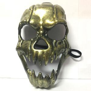 Scheletro di orrore maschera di Halloween cranio di mascherine di travestimento per adulti maschera di protezione piena Retro plastica Skull Mask rifornimenti di Halloween Prop Partito VT0581