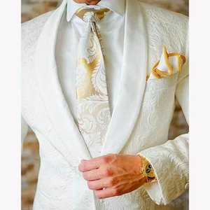 White Paisley Tuxedos Groomsmen Wedding Suits For Men British Style Custom Made Mens Suit Slim Fit Best Man Blazer 2 Piece
