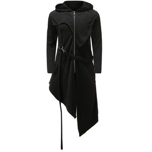 Mens Casual Hooded Cape Cloak Irregular Hem Hoodie Sweatshirt Men Long Hip Hop Streetwear Hoody Tracksuit Men Veste Homme