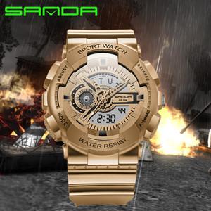 2016 SANDA أزياء العلامة التجارية ووتش رجال G جيش ذات طابع عسكري صدمة ساعات المعصم الفاخرة تماثلي رقمي رياضة ساعات relojes HOMBRE