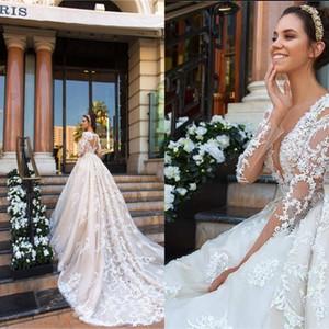 Сексуальный длинный рукав линия свадебное платье Princess 2020 v шеи кнопка задняя часть поезда аппликация иллюзия тюль свадебные платья длинное платье невесты