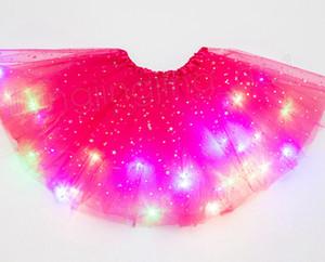 14styles дети LED платье с огнями звездой блесток Туты летом опухшего светящаяся девочкой платье для выступления на сцену партии марли юбки FFA3713B