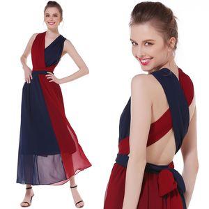 Women's Sexy Satin Deep V Neck Sleeveless Maxi Long Dress Summer Beach Backless Maxi Party Evening Dress
