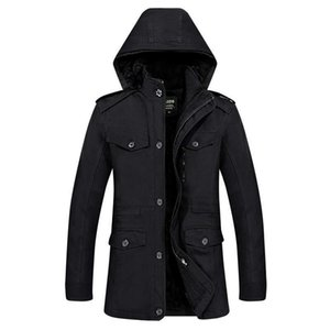 Mens thick trench coat hood soild Windproof jackets warm Outdoor military coat men designer fall winter casual high quality Windbreaker