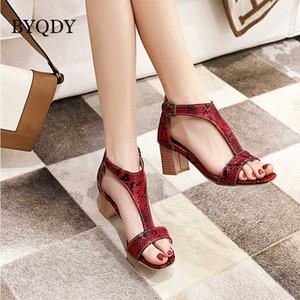BYQDY Yaz Yılan Kadınlar Sandal T-Kayışı Yüksek Topuklar Ayakkabı Kalın Topuklar Striptizci Ayakkabı Baskı Kadınlar Peep Toe Avrupa Sandalet