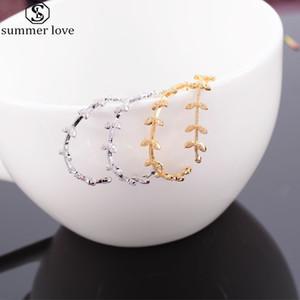 موضة شكل ورقة الذهب والفضة اللون المحيطي أقراط هوب للمرأة أوراق مكعب زركونيا بيان الكبير الحبل مجوهرات-Z