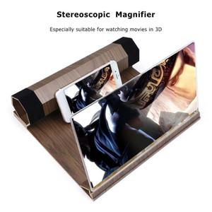 12 pouces de téléphone portable vidéo loupe d'écran amplificateur stéréoscopique verre bureau HD support en bois support de l'amplificateur de montage
