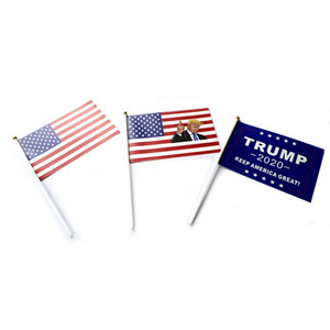 Trump Hand Signal Flag 14X21CM Donald 2020 Flags Letter Print Keep America Great Banner Waterproof Paper Hand Waving Flags GGA2075