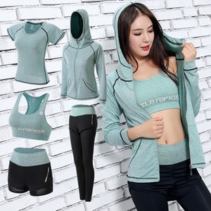 5PC Yoga Set Fitness Clothing Women Running Sportswear Workout Suit Gym Leggings Bra T-shirt Long Sleeve Seamless Sports Suit Y200529