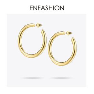 Enfashion Große Creolen Solid Gold Farbe Ewigkeit Ohrringe Edelstahl Kreis Ohrringe Für Frauen Schmuck Ec171022 J190718
