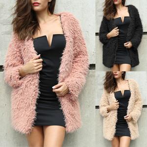 Cappotto di inverno delle donne Plus Size Faux Fur Cappotto solido di colore a maniche lunghe anteriore aperto del pane del rivestimento del cappotto elegante cappotto allentato Asiatica Misura