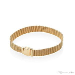 18K Oro amarillo NUEVAS Reflexiones PULSERA para hombre Caja original para Pandora 925 Pulseras de regalo de plata para mujer