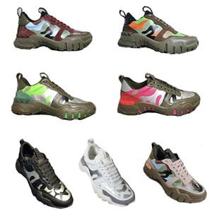 Hombres diseñador de las mujeres zapatillas de deporte de la zapatilla de deporte de la vendimia Rockrunner camuflaje escaladores nuevos zapatos de cuero verdadero de la plataforma de goma Correr Formadores papá Zapatos