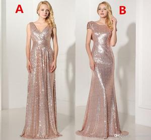 Real 2019 Rose GoldSequined lange Brautjunfer kleidet reizvolle V-Ansatz faltete Backless formales Kleid Partei Vestido De Festa Longo SD349 SD347