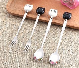 Seramik Kedi Kaşıkları Paslanmaz Çelik Meyve Çatal Karıştırma Kaşığı Dondurma Çay Tatlı Kahve Kaşığı WB95